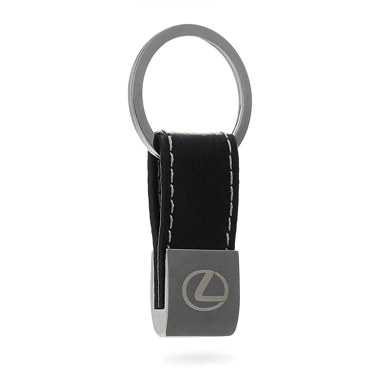 Leather & Gunmetal Keychain
